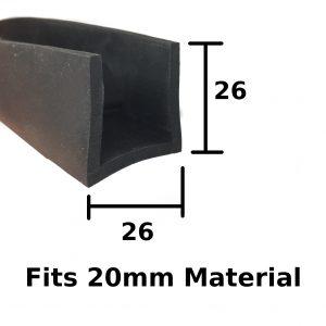 Square rubber u-channel