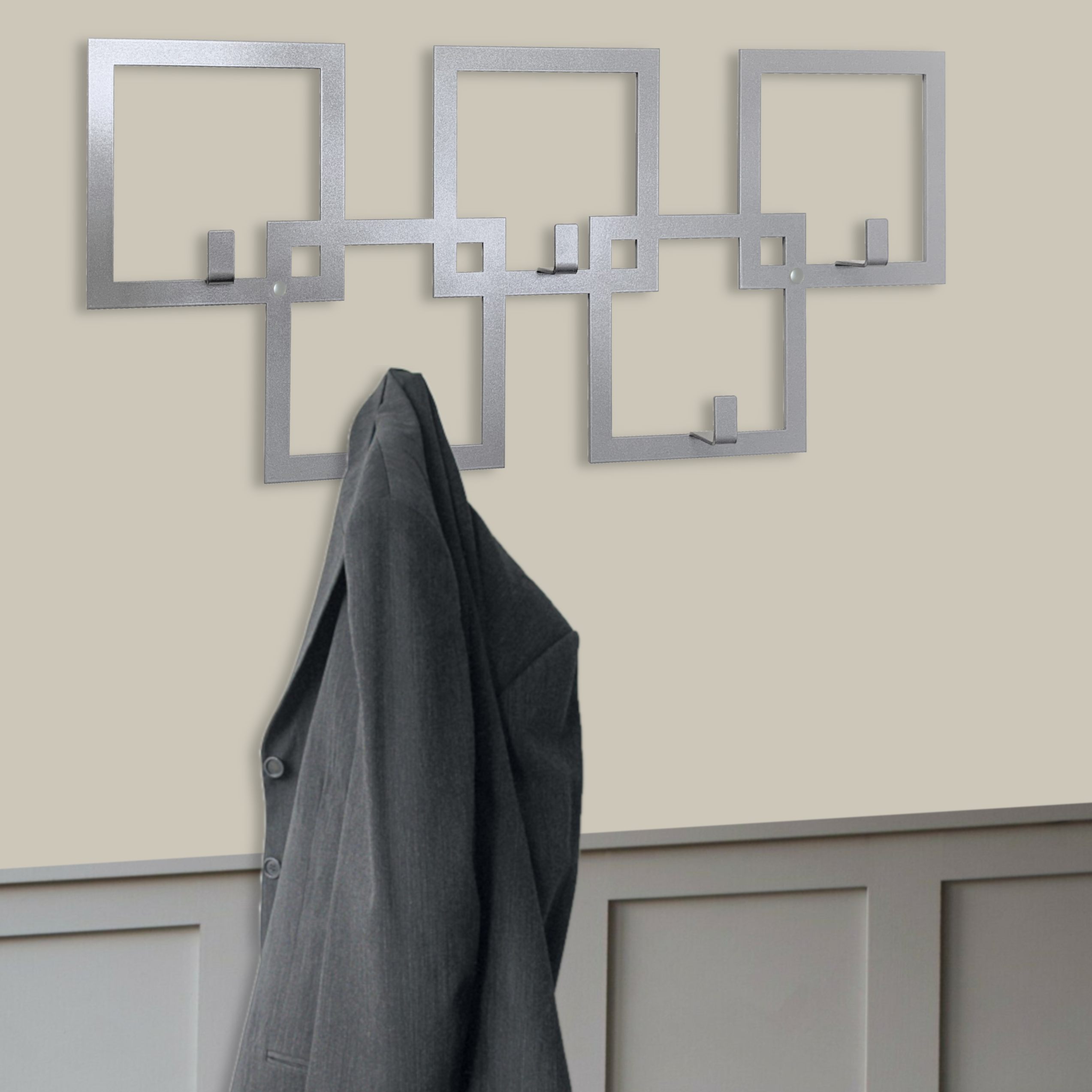 Silver Squares Coat Rack