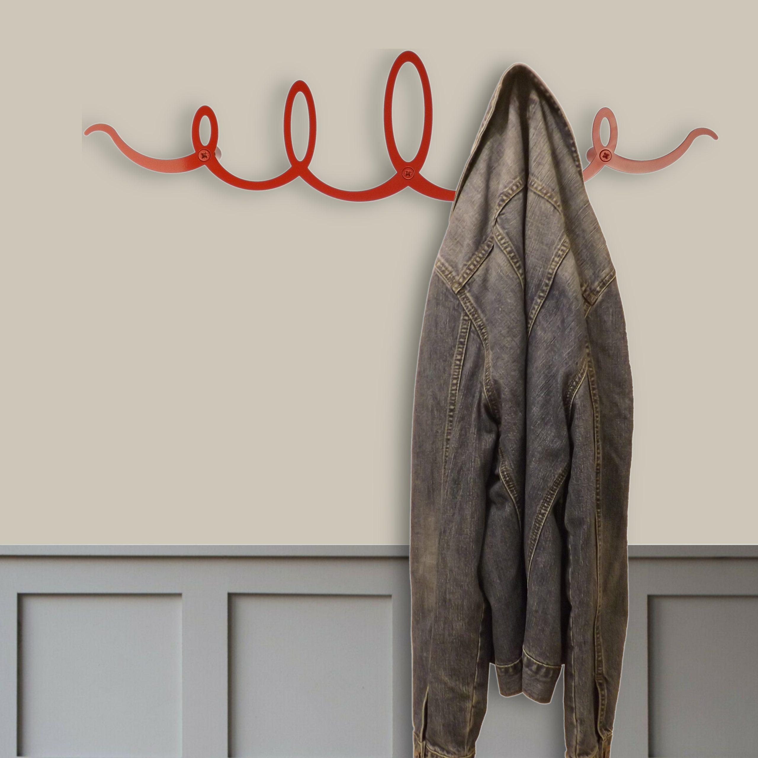 Red Squiggle Coat Rack